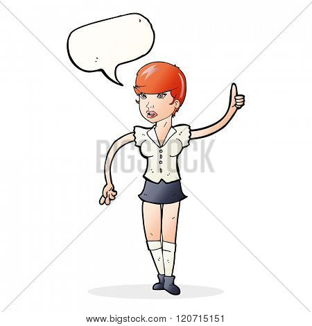 cartoon pretty girl asking question with speech bubble