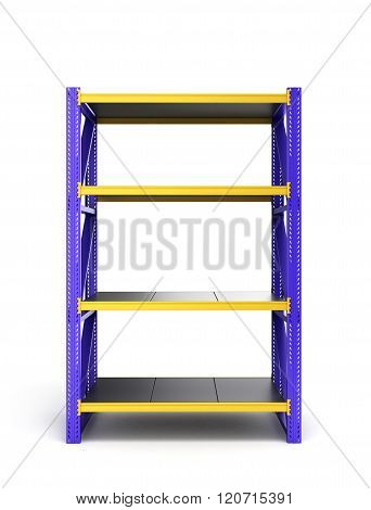Single Pallet Rack, Isolated On White Background
