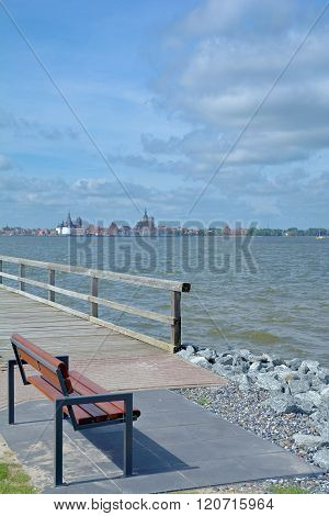 View from Village of Altefaehr on Ruegen Island over Strelasund to Town of Stralsund,baltic Sea,Mecklenburg western Pomerania,Germany