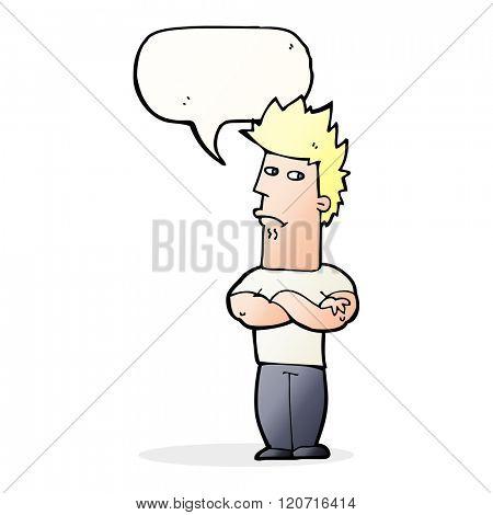 cartoon man sulking with speech bubble