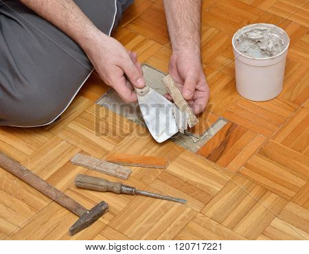 Man Is Gluing Wooden Floor