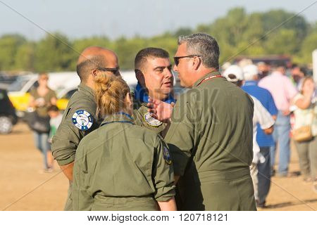 Athens, Greece 13 September 2015. Air force pilots are discussing at the Athens flying week air show