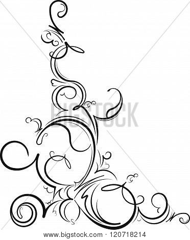 Ornamental Floral Corner. Vector Illustration For Your Design Or Tattoo