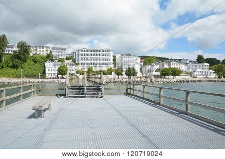 Pier and Promenade of Sassnitz on Ruegen Island at Baltic Sea,Mecklenburg western Pomerania,Germany