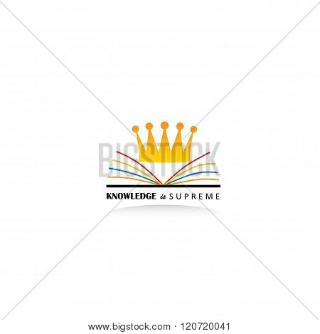 Concept Of Knowledge As King Using Book And Crown Graphic Icon On White