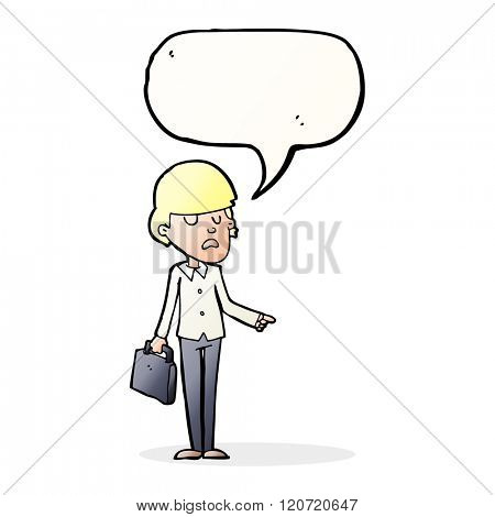 cartoon arrogant businessman pointing with speech bubble