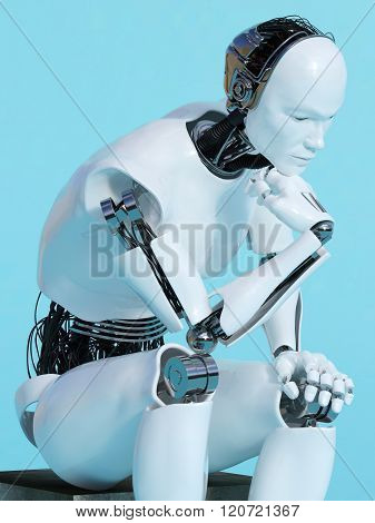 Closeup Of Robot Man In Thinking Pose.