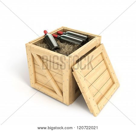 Open Wooden Box With Bottles Of Wine Inside Isolated On White Background