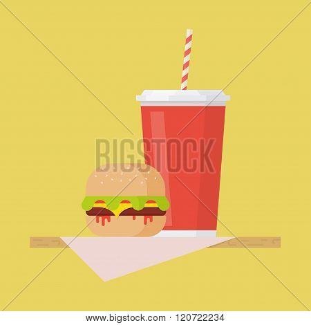 Hamburger And Soda Vector Illustation