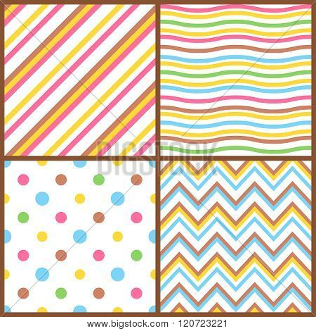 Set of seamless colorful patterns for easter eggs