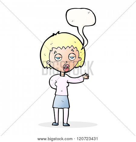cartoon bored woman with speech bubble