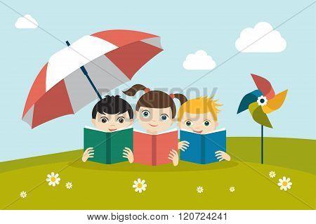 Little Cute Group Of Three Children Reading A Books Sitting On The Grass Under Sun Umbrella. Flat Ve