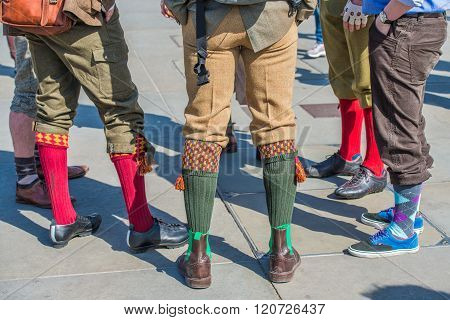 Colourful Socks And Shoes At Tweed Run