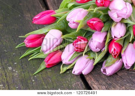 Tulips Bouquet On Wood