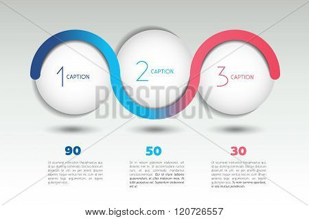Infographic Vector Option Banner With 3 Steps. Color Spheres, Balls, Bubbles.