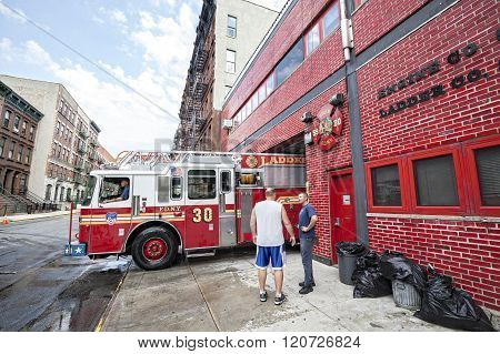 Fdny Fire Truck Backs Into Garage.