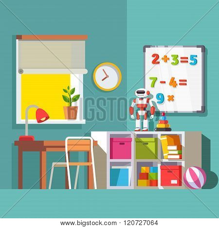 Preschool or school student kid room interior