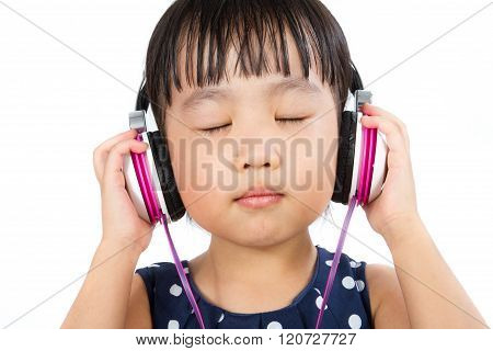 Asian Little Chinese Girl With Headset