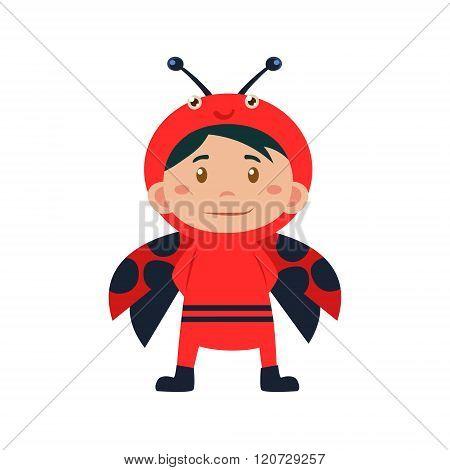 Child Wearing Costume of Ladybird. Vector Illustration