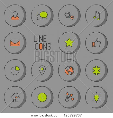 Vector Modern circle thin line icon collection - dual color (green and red), dark version with light shadow