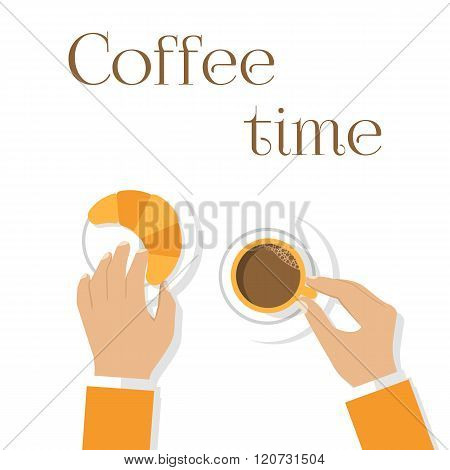 Coffee And Croissants, Hands Man. Hands Holding Cup Of Coffee And Croissants.