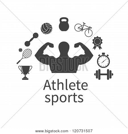 Athlete Sports. Concept Of The Gym. Logo For The Gyms And Fitness Clubs.