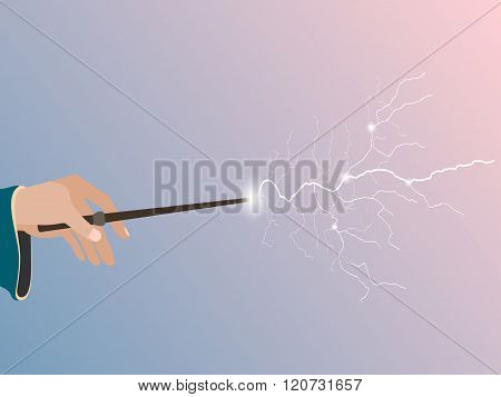 Magic wand. Magic stick in hand. Magic lightning. Rose quartz and serenity violet background. Vector illustration.