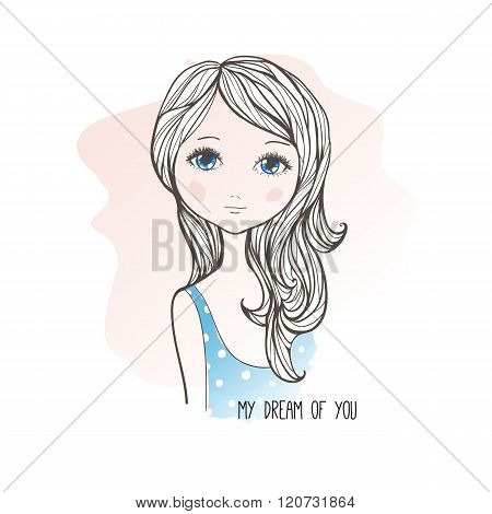 Sketch Drawing Of Cute Dreaming Girl