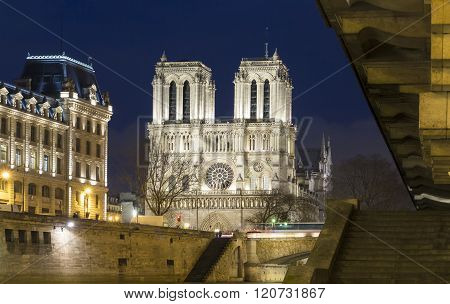 The Notre Dame Cathedra In Evening L, Paris, France.