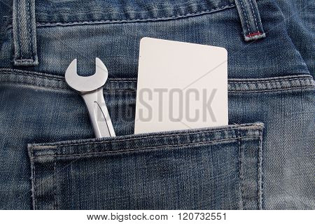 wrench in the back jeans pocket