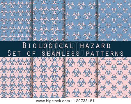 Set Of Seamless Patterns With Biohazard Symbol. Rose Quartz And Serenity Violet Colors. For Wallpape