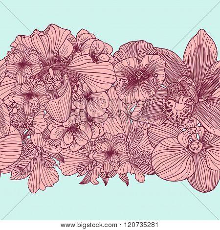 Seamless Vintage Flower Border