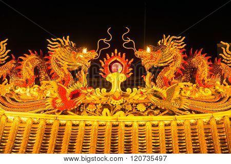 Art Of Roof On Thian Fan Foundation Shrine.