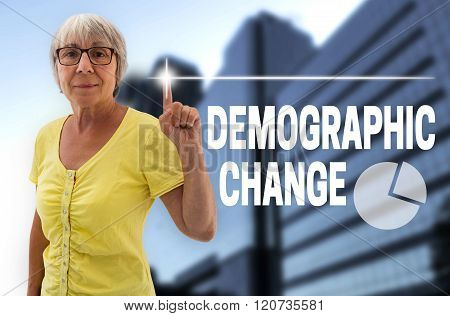Demographic Change Touchscreen Is Shown By Senior