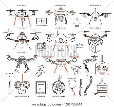 Set of Trendy Flat Style Line Icons. Collection of Aerial Drone Emblems and Icons with Camera, Propellers, Engine, Transmitter and Controller Pictograms. Remote Control with Mobile Phones
