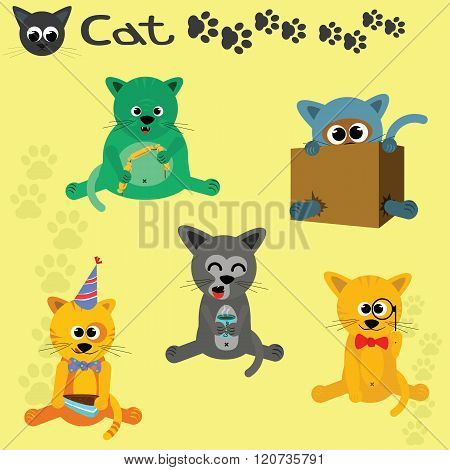 A Set Of Five Cartoon Cats