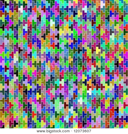 Vector seamless multicolor puzzle block background