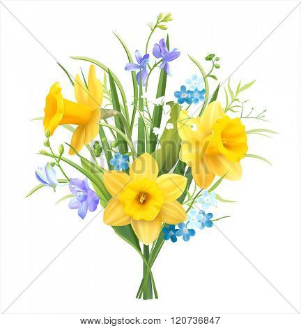 Spring flowers bouquet on white. Vector illustration.