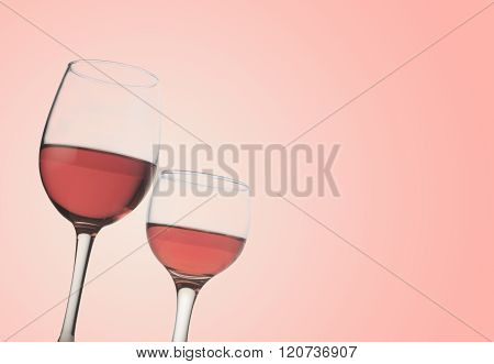 Two Rose Wine Glasses