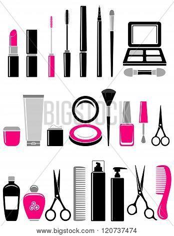 beauty set of cosmetics icon