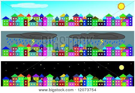 Set of vector cartoon cityscapes