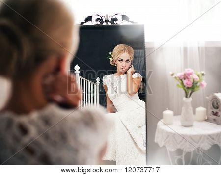 young bride in a bright vintage interior