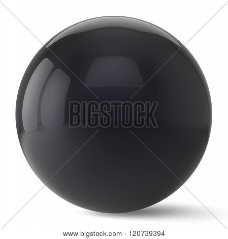 Sphere button round black ball geometric shape basic circle solid figure simple minimalistic atom element single drop shiny glossy sparkling object blank balloon icon. 3d render isolated