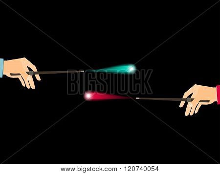 Magic wand. Hand holding a wand on a black background. Magical flash. Vector illustration.