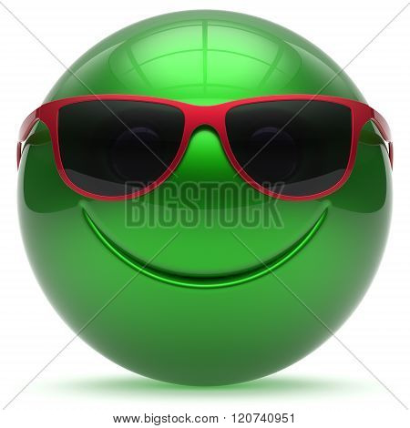 Smiling face head ball cheerful sphere emoticon cartoon smiley happy decoration cute green red sunglasses. Smile funny joyful person laughing joy character toy avatar. 3d render isolated
