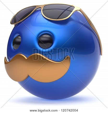 Smiley cartoon mustache face emoticon ball happy joyful handsome person blue golden sunglasses caricature. Cheerful eyeglasses laughing fun sphere positive character avatar. 3d render isolated