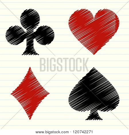 Vector collection of scribbled lines with playing cards symbols