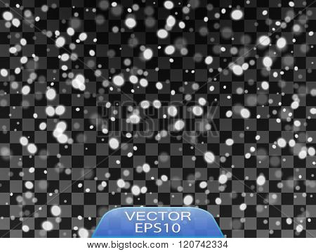 Isolated Falling Snow Overlay Background Snowfall Snowy Weather Vector Illustration