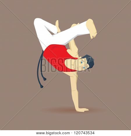 Handstanding capoeirista. Capoeira man. Capoeira element. Capoeira acrobatic.