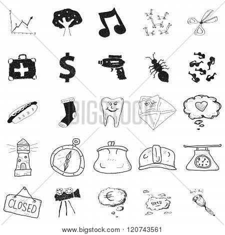 Set Of 25 Doodle Illustrations